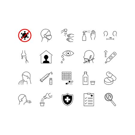 Coronavirus line icon set. Included icons as virus, outbreak, contagious, contagion, infection and more.