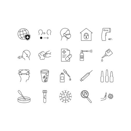 Coronavirus line icon set. Included icons as virus, outbreak, contagious, contagion, infection and more. Vektorové ilustrace