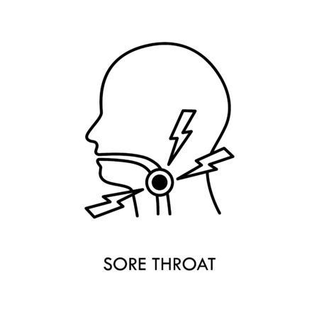 Sore throat vector icon. Silhouette symbol. Glands, tonsils, pharynx inflammation. Pharyngitis. Throat virus infection. Influenza epidemics. Flat sign for mobile concept and web design