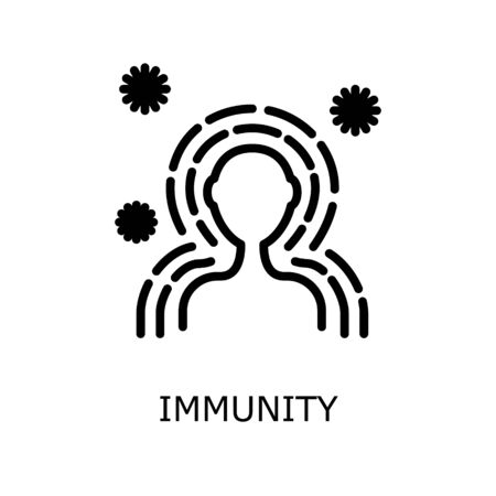 Antibacterial protection or immune system icon. Health bacteria virus protection. Healthy man reflect bacteria attack with shield. Boost Immunity with medicine concept illustration