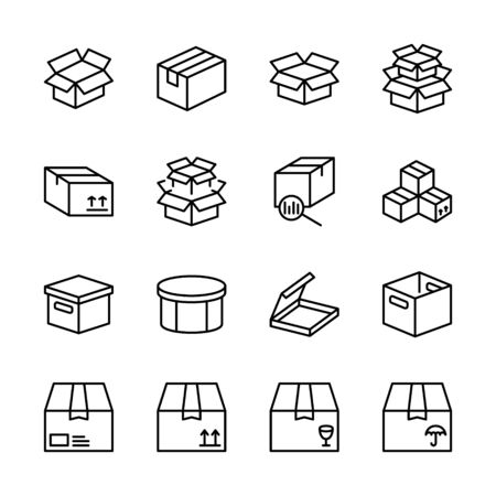 Box flat line icon set. Carton, wood boxes, product package, gift vector illustrations. Simple outline signs for delivery service. Pixel perfect.