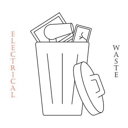 Container for e-waste trashes. Container for garbage and trash. Recycling garbage elements. Vector flat illustration. Vektorgrafik