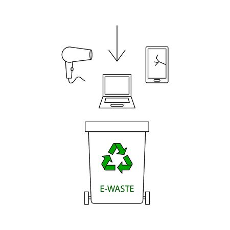 Container for e-waste trashes. Container for garbage and trash. Recycling garbage elements. Vector flat illustration.
