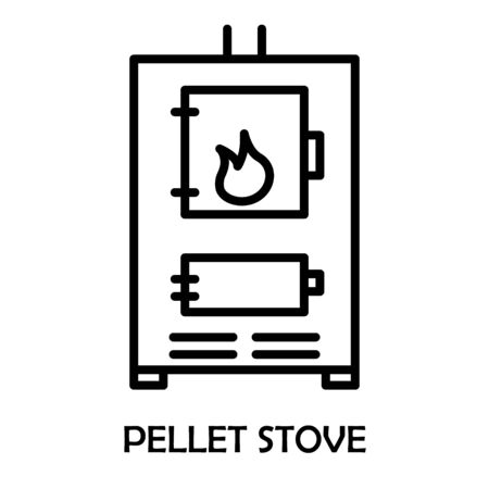 Pellet stove. Fireplace House heating. The Furnace turned on with fire inside. Vector line icon, linear concept, outline sign, symbol