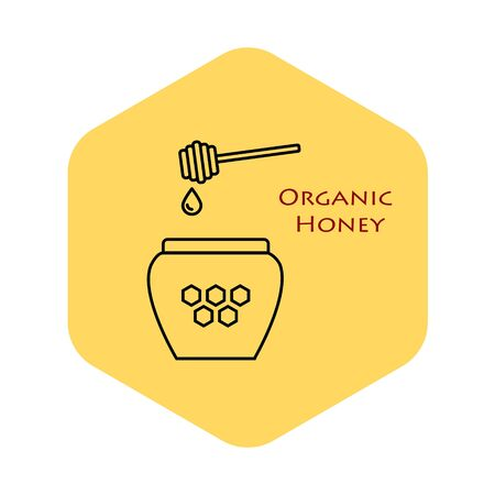 Natural sweet product honey ads. Honey is dripping from above. Jar of honey