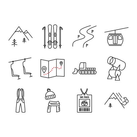 Holiday ski resort icon set. Ski,  mountains, piste, tree, funicular, chair lift, snow cannon. Design for tourist catalog, maps of the ski slopes, placard, brochure, flyer, booklet. Vector illustration.