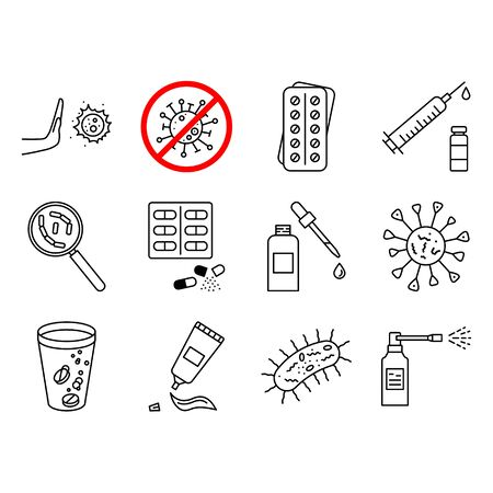 Disease prevention. Drug, Pharmacy Medical Silhouette Flat Icons. Effervescent Pills, Cough Syrup Bottle, Gel, Antibiotic Capsule and other Pharmaceutical Pictogram. Bacteria, Virus icons set