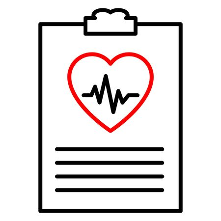 Clip board with hospital documents. Medical insurance forms. Doctor paperwork. Hospital documents with heartbeat icon. Illustration in flat style.