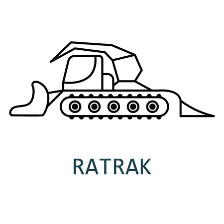 Special snow-grooming tracked machine used to prepare snow slopes and courses.Ratrak. Snowcat. Vector icon