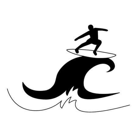 Surfer on a board on a big wave. Vector illustration. Silhouette on a white background