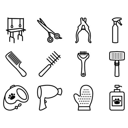 Pet grooming icons set. Collection of flat vector web icons. Tools used in beauty salon for animals.