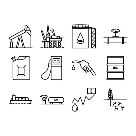 Set of fossil icons. Contains such Icons as Oil rig, Storage tank, Gas Station, Transportation and more.