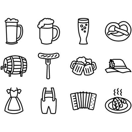 Vector Oktoberfest beer icons set with sausage, pretzel and Bavarian hat, beer glass, mug, barrel