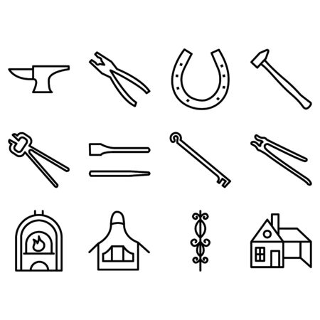 Decorative blacksmith  anvil vise tools graphic icons set isolated vector illustration Stock Illustratie