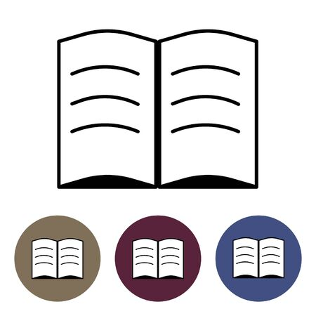 Open book icon. Outline open book vector icon for web design isolated on white background and in colorful circles