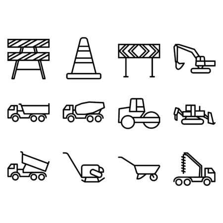 Set of various transportation and construction machinery.Heavy-duty vehicles, designed for executing construction tasks and earthwork operations.