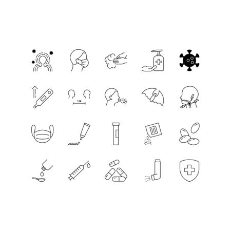 Coronavirus disease line icon set. Included icons as virus, outbreak, contagious, contagion, symptoms and more.