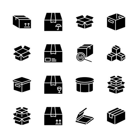 Box flat line icon set. Carton, wood boxes, product package, gift vector illustrations. Simple black signs for delivery service