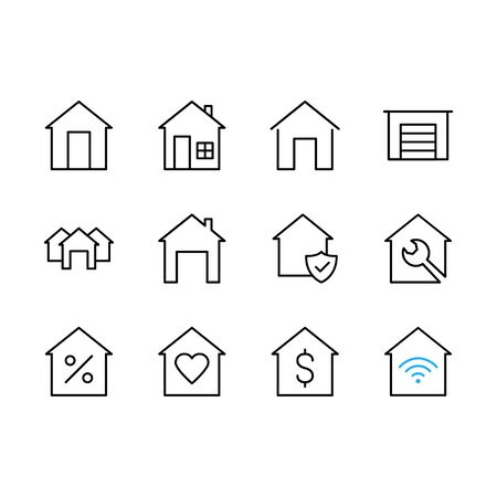 Real estate flat glyph icons set. House sale, building renovation vector illustrations. Homepage signs. Simple linear house pictograms on a white background. Pixel perfect