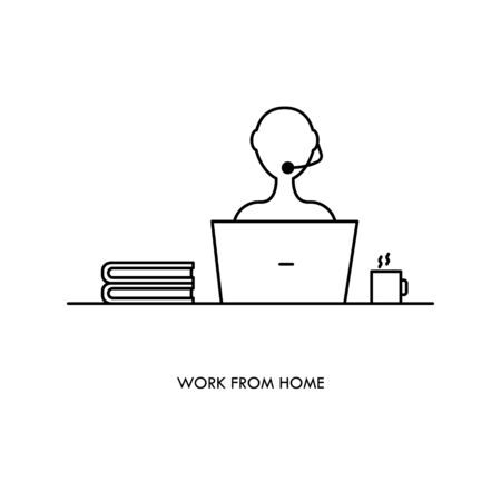 Teleworking , working from home, remote work vector icon. Stay safe at home and working.  Illustration