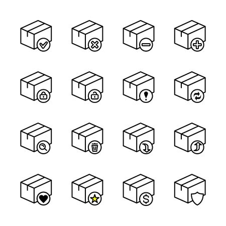 Box flat line icon set. Carton, wood boxes, product package, gift vector illustrations. Simple outline signs for delivery service.