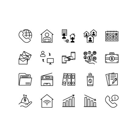 Teleworking , working from home, work remote vector icon set. Vector illustration included icon as freelance worker with laptop, workspace, pc monitor. Stay safe at home and working. Editable Stroke. Illustration
