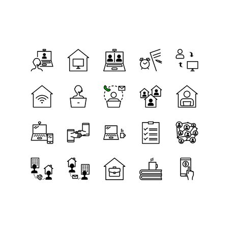 Teleworking , working from home, work remote vector icon set. Vector illustration included icon as freelance worker with laptop, workspace, pc monitor. Stay safe at home and working. Editable Stroke.