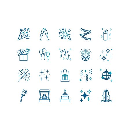 Holiday icons set on white background. Contains icons such as balls, fireworks, music, decorations Vettoriali