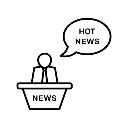 Breaking news, reporter line icon on a white background. Editable stroke