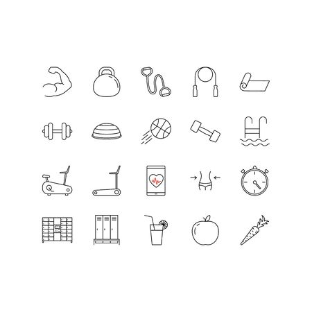 Set of icons Fitness and Sport. Collection Outline symbol gym and health care - muscles, swim, weight, cardio, time, weight lifting. Editable stroke.