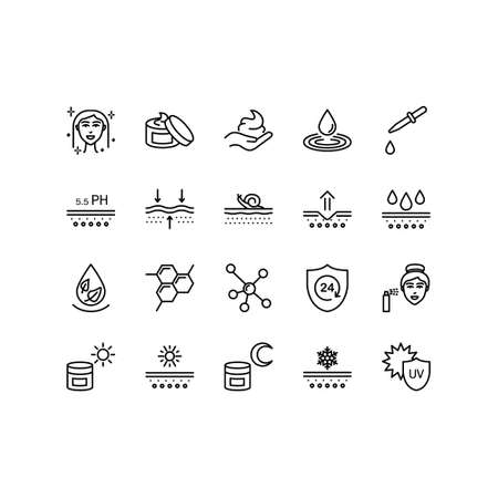 Skin care flat line icon set. Moisturizing cream, spf whitening gel, care dry skin cream, oil, serum drop elements. Outline signs for cosmetic product package. Editable Strokes.
