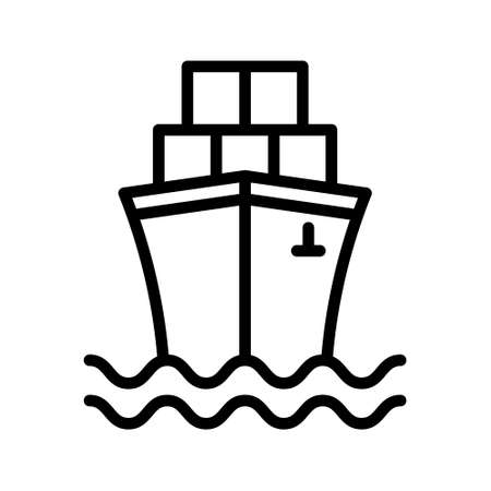 Cargo Ship icon, container ship. Water transport icon. Simple vector boat icons for ui and ux, website or mobile application