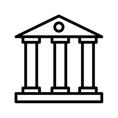 Bank building, Business center, court, museum vector line icon on white background. Vector sign for mobile app and web sites.