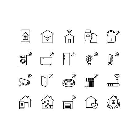 Smart Home icon set, home automation system, smart systems and technology with elements for mobile concepts and web apps. Editable stroke.