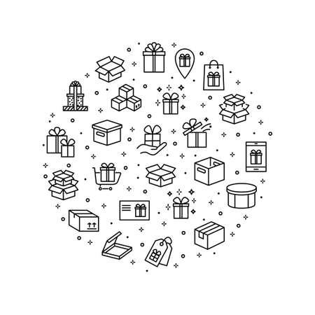 Present and Box flat line icon set. Carton, wood boxes, product package, gift vector illustrations. Simple outline signs for delivery service.