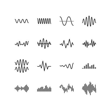 Sound and radio waves flat line icons set. Monochrome simple sound wave on white background. Editable Strokes.
