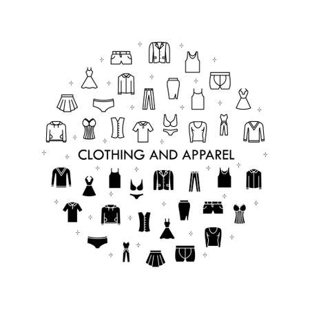 Clothing line icon set. Vector Illustration Included Icon as shirt, t-shirt, sweater, pants, shorts, skirt, dress, underwear. Flat Pictogram for fashion application. Illustration