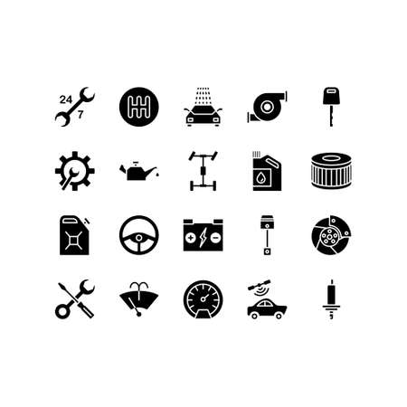Car repair service line icons set of mechanic, computer diagnostics, tools, wheel, battery, transmission, jack. Elements for mobile concepts and web apps. Signs, logo illustration.