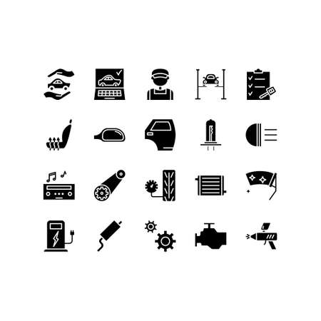 Car repair service line icons set of mechanic, computer diagnostics, tools, wheel, battery, transmission, jack. Elements for mobile concepts and web apps. Signs, illustration.