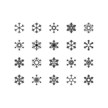 Snowflake vector icon set on white background. Winter christmas snowflake crystal element. Editable stroke.
