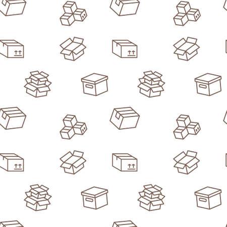 Cardboard box in seamless pattern.