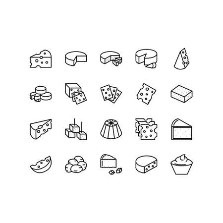 Cheese flat line icons set on white background.