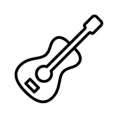 Guitar flat line icon. Musical instrument vector illustration.
