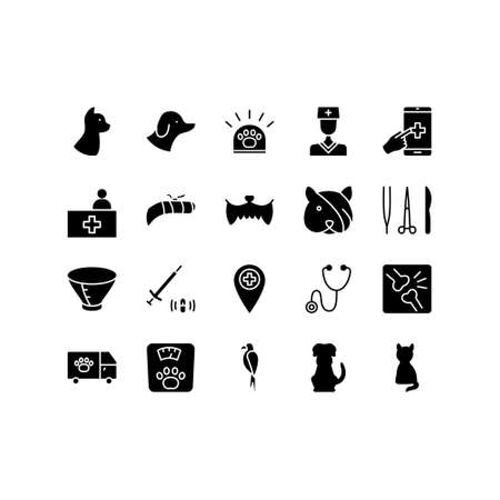 Veterinary clinic flat line icons set. Stethoscope, xray, broken leg, protective collar, injection, cleaning teeth. Simple flat vector illustration for clinic, web site or mobile app.