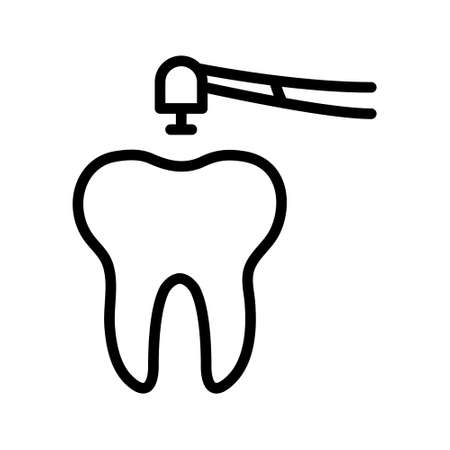 Tooth flat line icon. Dental care, Dentistry symbol, stomatology services. Outline sign for mobile concept and web design, store. Vecteurs