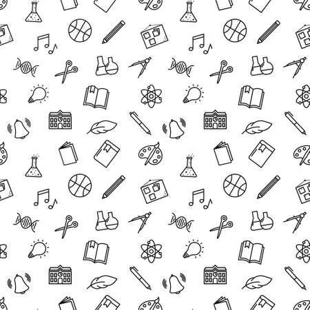 Seamless vector pattern with different drawings related to the school. School supplies and office stationary on pink background. For fabric, paper, wrap, textile, poster, wallpaper or background.