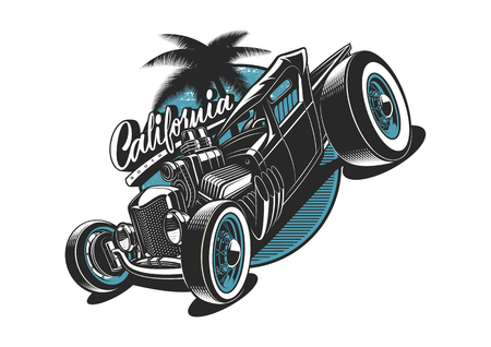 Classic American hot-rod illustration on white background. All elements is on the separate layer.