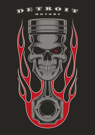 Skull piston with classic american flames on black background. Vettoriali