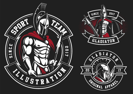 Satz Gladiatoren auf schwarzem Hintergrund. Alle Elemente befinden sich auf der separaten Ebene.