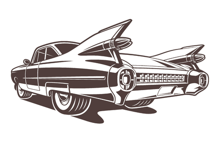 Monochrome car illustration on white background Ilustração